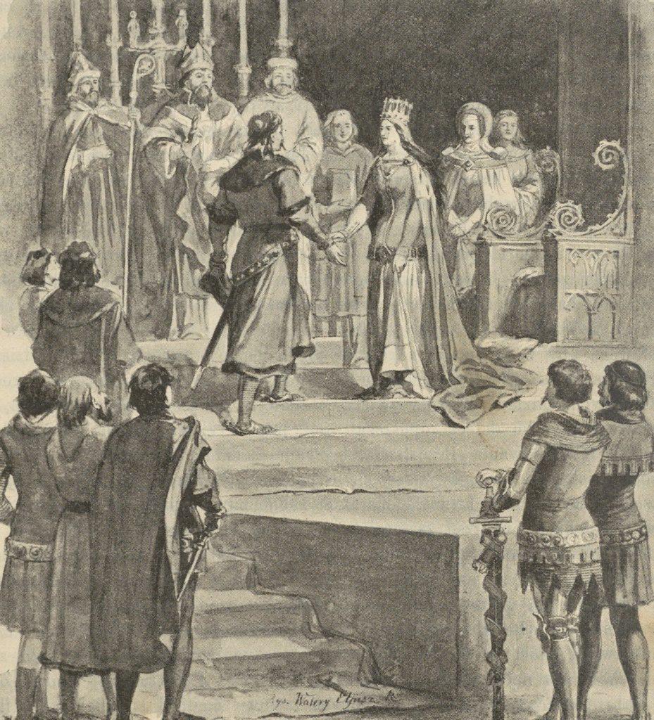Małżeństwo Jadwigi i Jagiełły zdecydowanie nie należało do udanych. Na ilustracji ślub królewskiej pary według Walerego Eljasza-Radzikowskiego (domena publiczna).