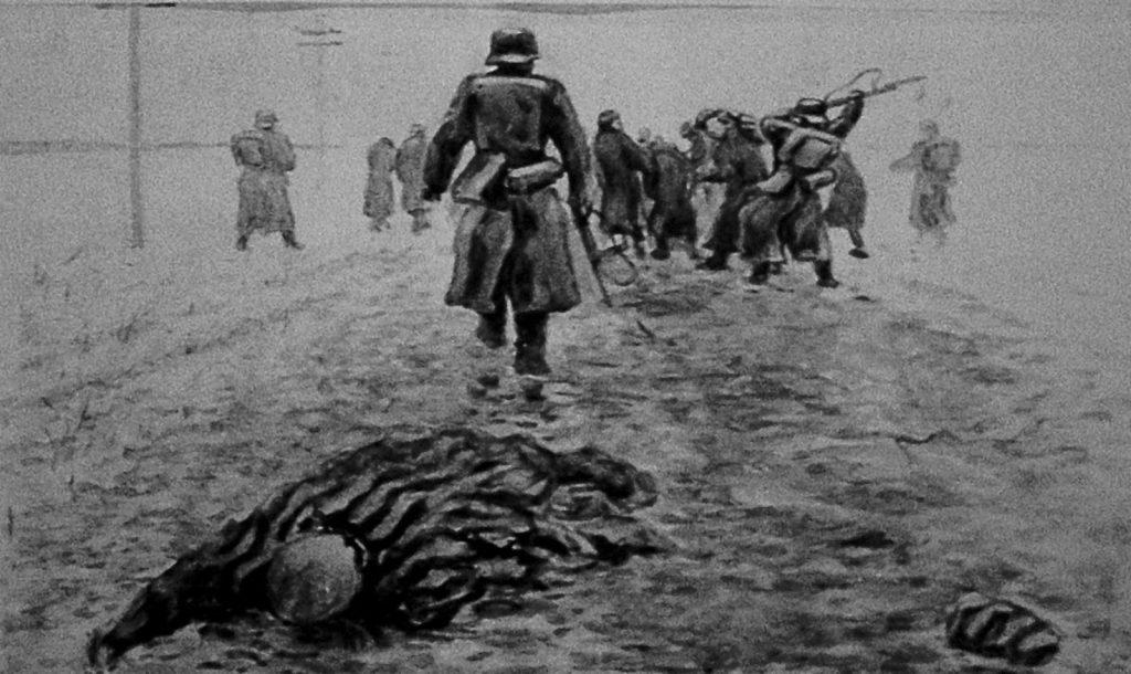 Marsz śmierci z KL Stutthof według byłego więźnia Nikołaja Kuzniecowa. Obraz obecnie znajduje się w obozowym muzeum.