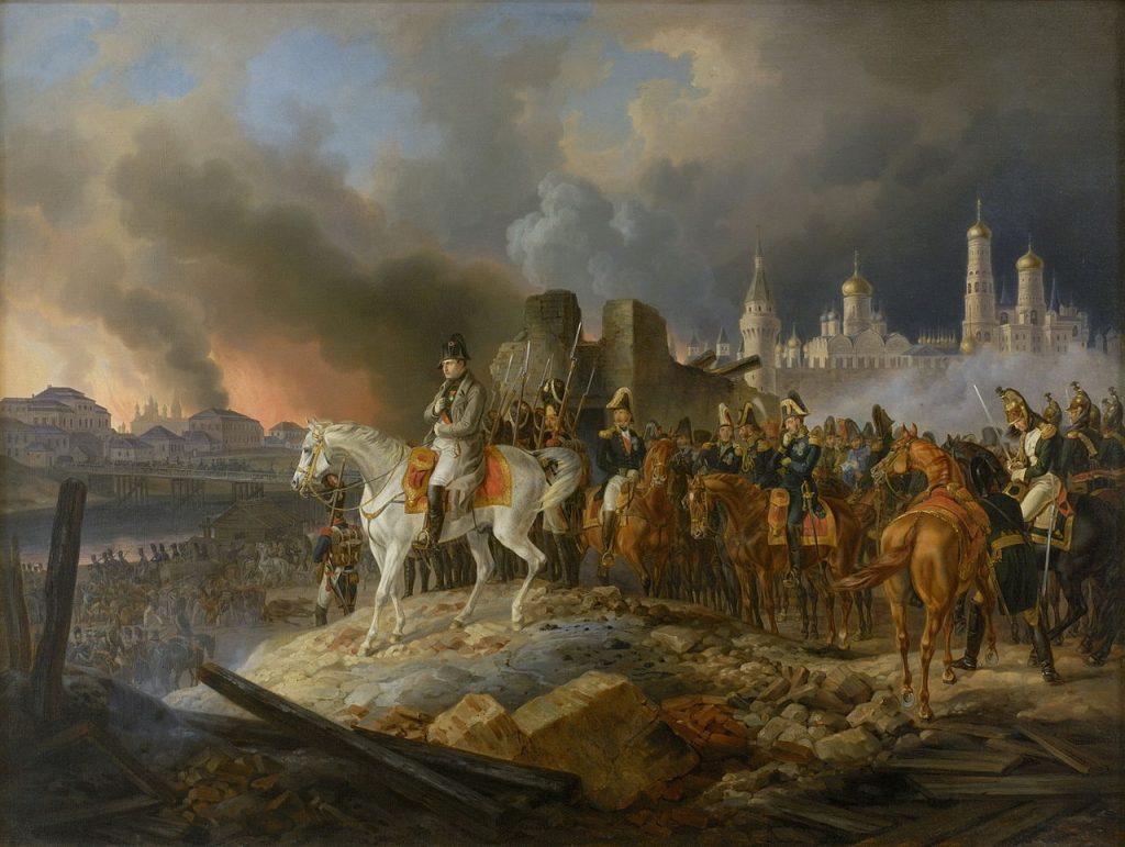 Napoleon obserwujący płonącą Moskwę na obrazie Adama Albrechta (domena publiczna).
