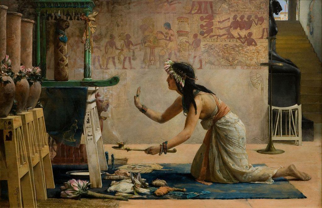 Obraz Johna Reinharda Weguelina pt. Pogrzeb egipskiego kota (domena publiczna).