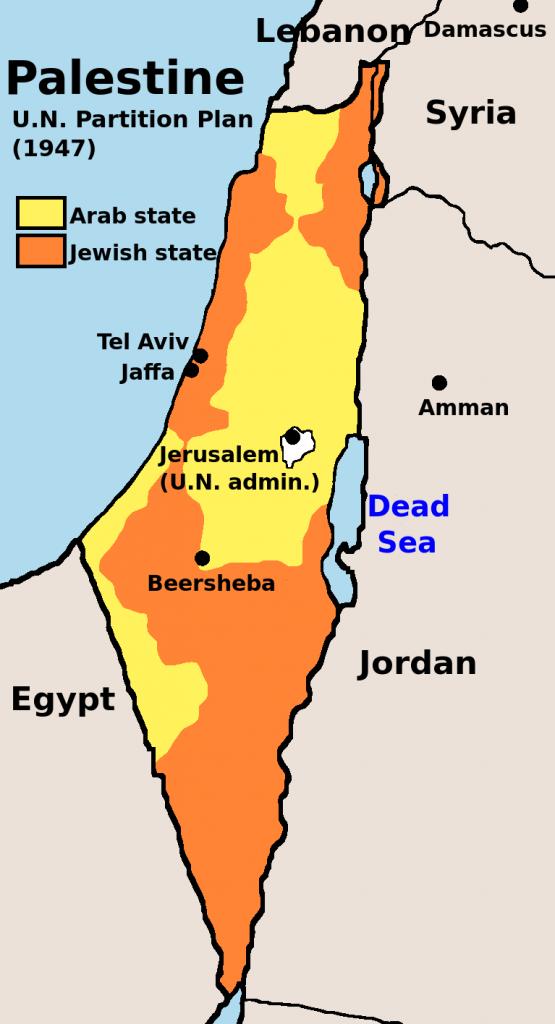 Plan podziału Palestyny uchwalony przez ONZ w 1947 (domena publiczna).
