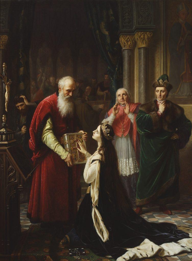 Przysiega królowej Jadwigi na obrazie Józefa Simmlera (domena publiczna).