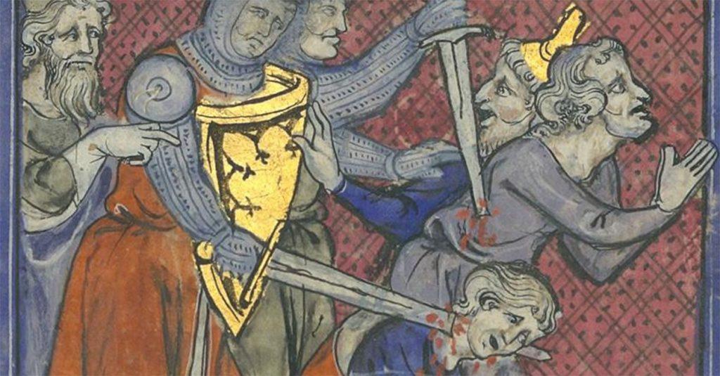Rzeź ludności na francuskiej miniaturze z XIV wieku.