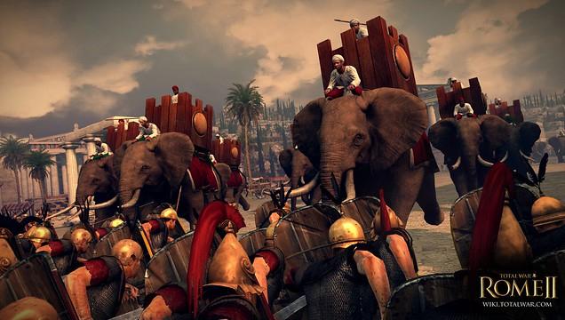 Słonie bojowe w armii Epiru. Grafika z gry Total War. Rome II.