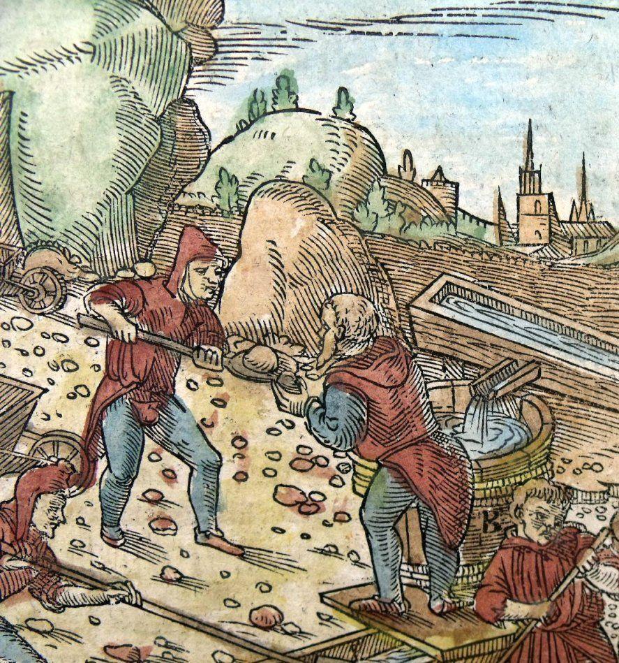 W XIV wieku na Węgrzech kopanie złota powstawały jak grzyby po deszczu. Na ilustraji renesansowy drzeworyt przedsrawiający pracę w średniowiecznej kompanii złota (domena publiczna).