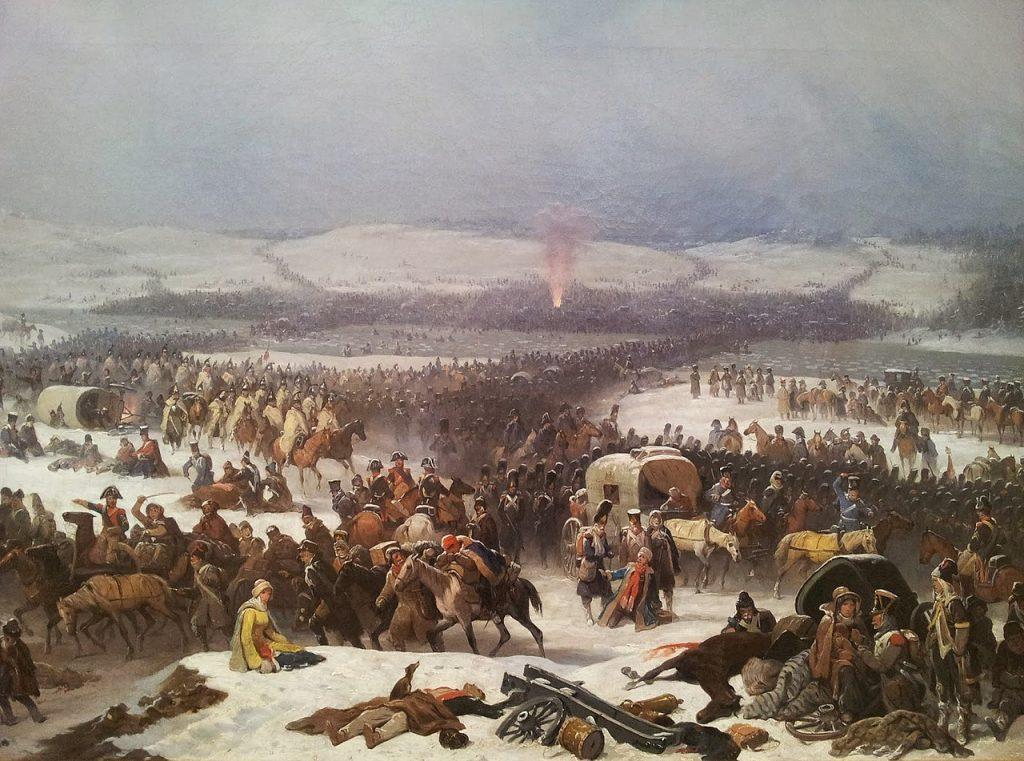 W trakcie wyprawy na Moskwę Moskwę Lerrey odkrył, że schłodzenie śniegiem operowanego miejsca zmniejsza ból. Na ilustracji obraz Januarego Suchodolskiego przedstawiający przeprawę przez Berezynę (domena publiczna).