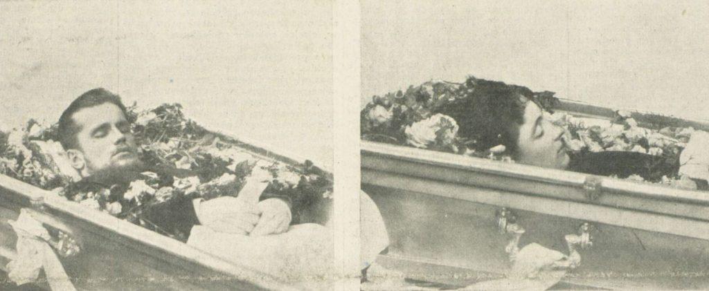 Trumny ze zwłokami Emeryka i Dagny (domena publiczna).