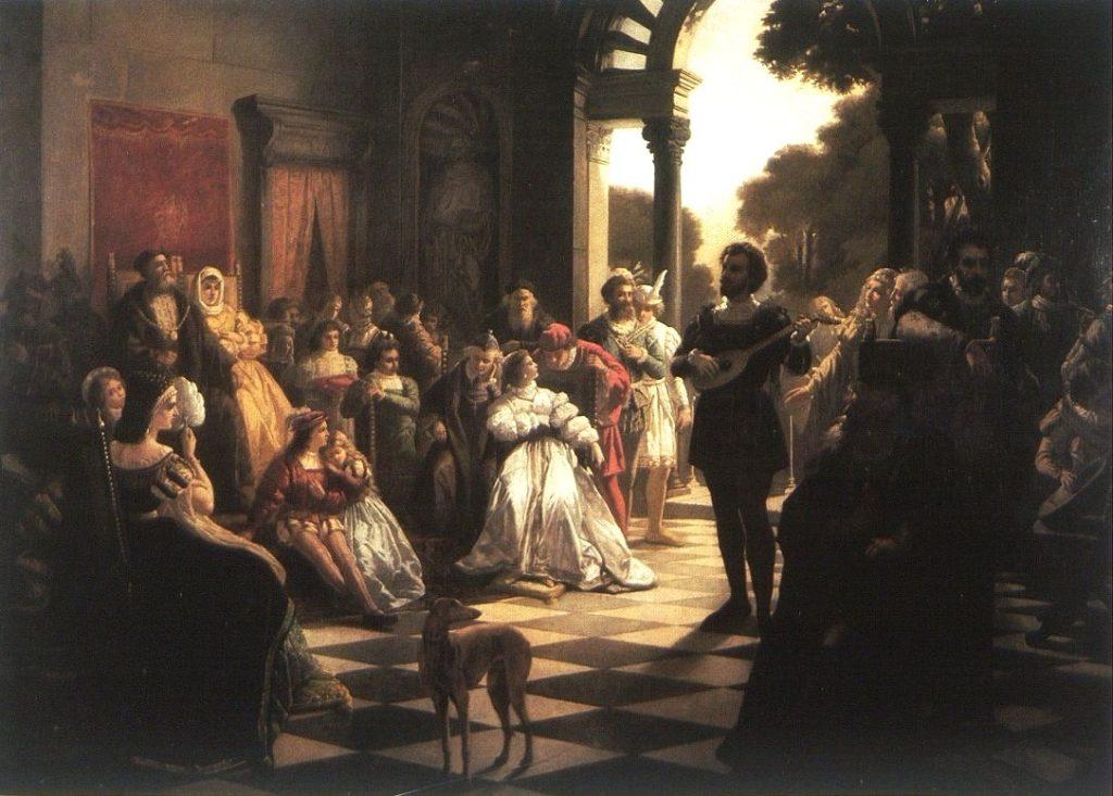 Bona Sforza na swoim weselu wykazała się dużymi talentami tanecznymi. Na ilustracji obraz Kazimierza Mireckiego Wprowadzenie muzyki włoskiej na dwór Zygmunta I przez Bonę (domena publiczna).