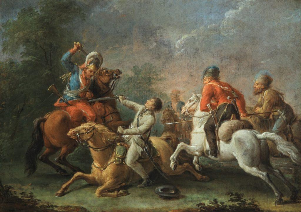 XVIII-wieczny obraz Jana Bogumiła Plerscha Kościuszko upadający z koniem w bitwie pod Maciejowicami (domena publiczna).