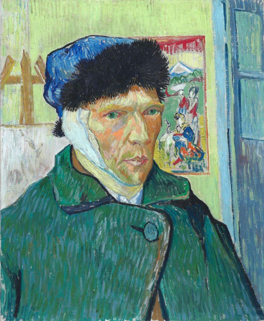 Autoportret Vincenta van Gogha z zabandażowanym uchem (domena publiczna).