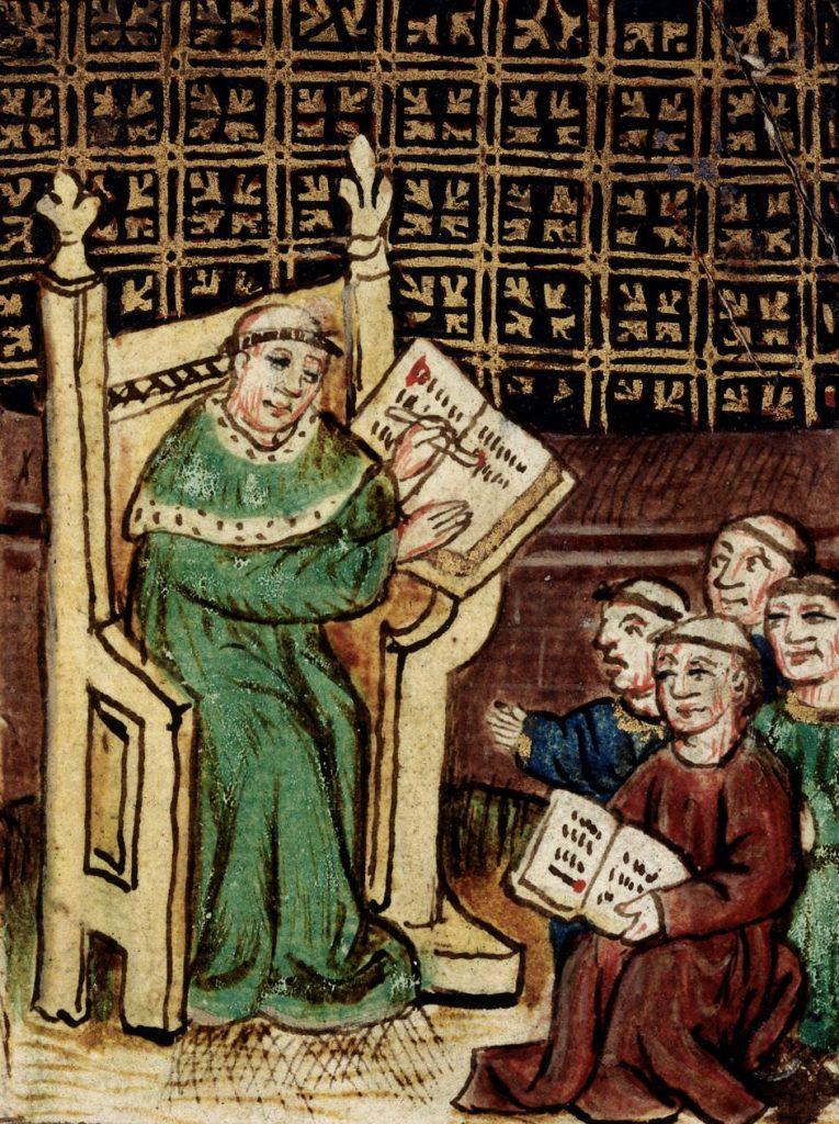 Dzieci 1000 lat temu rozpoczynały naukę od recytowania psałterza. Dopiero później uczono je kojarzenia dźwięków i słów z poszczególnymi literami (domena publiczna).