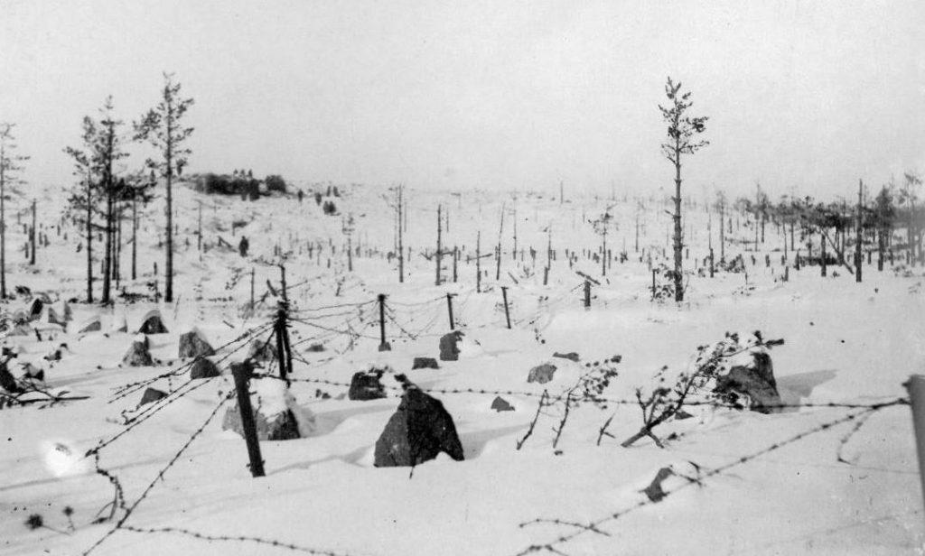 Fragment linii Mannerheima na zdjęciu z 1940 roku.