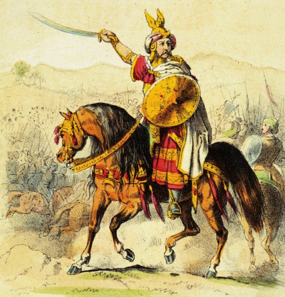 Główny ciężar podboju królestwa Wizygotów spadł na Berberów pod wodzą Tarika ibn Zijada (na ilustracji). Nowy gubernator zabrał zwycięscom ich łupy (Theodor Hosemann/domena publiczna).