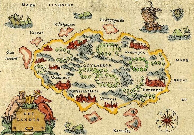 Gotlandia na mapie z drugiej połowy XVI wieku (domena publiczna).