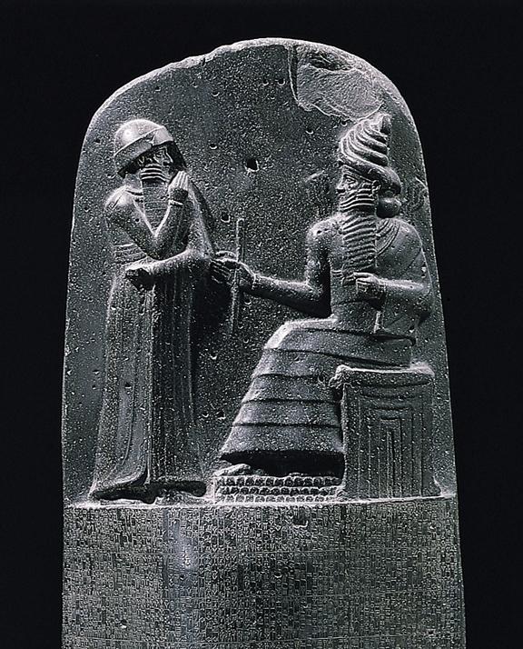 Hammurabi otrzymuje prawa od boga Szamasza