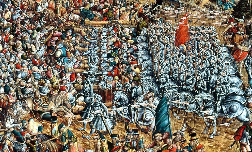 Jazda kopijnicza w bitwie pod Orszą w 1514 roku.