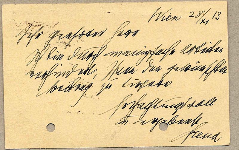 List Zygmunta Freuda z 1913 roku