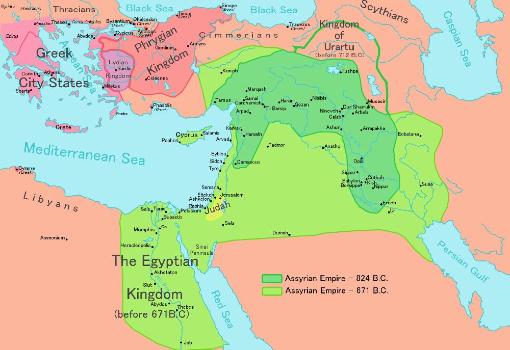 Mapa imperium asyryjskiego w 824 i 671 roku p.n.e.