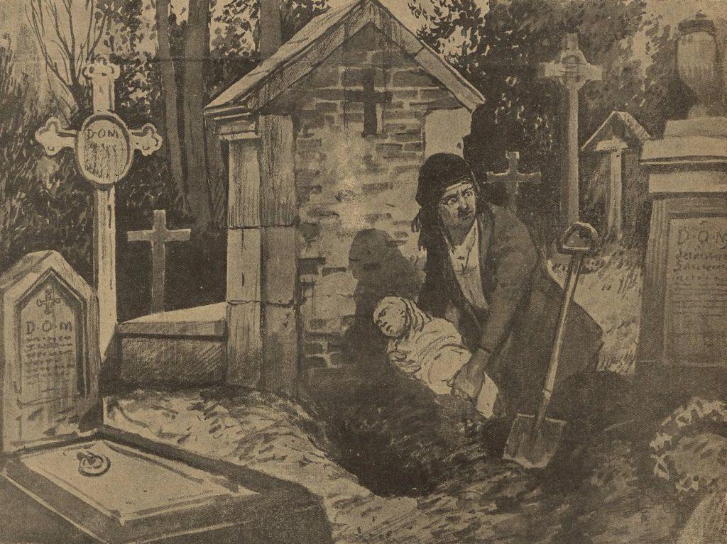 Matka zakupująca swoją nieślubne córeczkę żywcem na cmentarzu. Ilustracja z 1922 roku (domena publiczna).