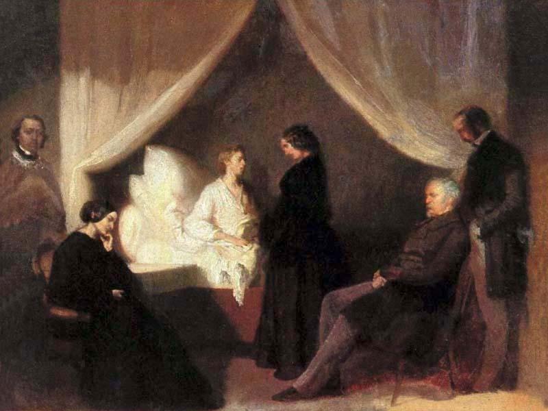 Obraz Teofila Kwiatkowskiego Ostatnie chwile Fryderyka Chopina (domena publiczna).