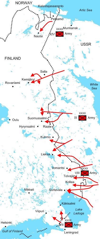 Plan sowieckiej ofensywy w wojnie zimowej. Niewiele z niego wyszło.