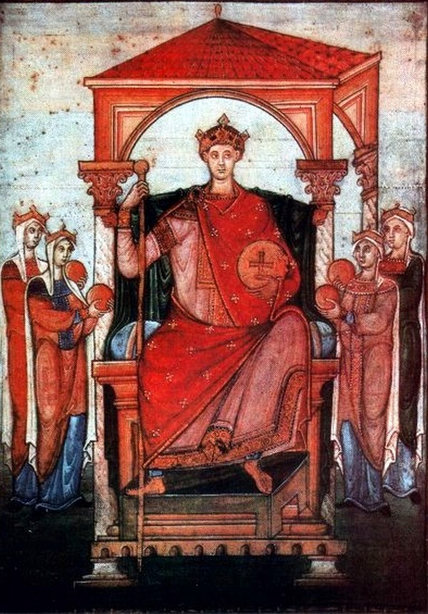 Po porażce w walce z Mieszkiem Otton II musiał zgodzić się na warunki stawiane przez polskiego księcia (domena publiczna).