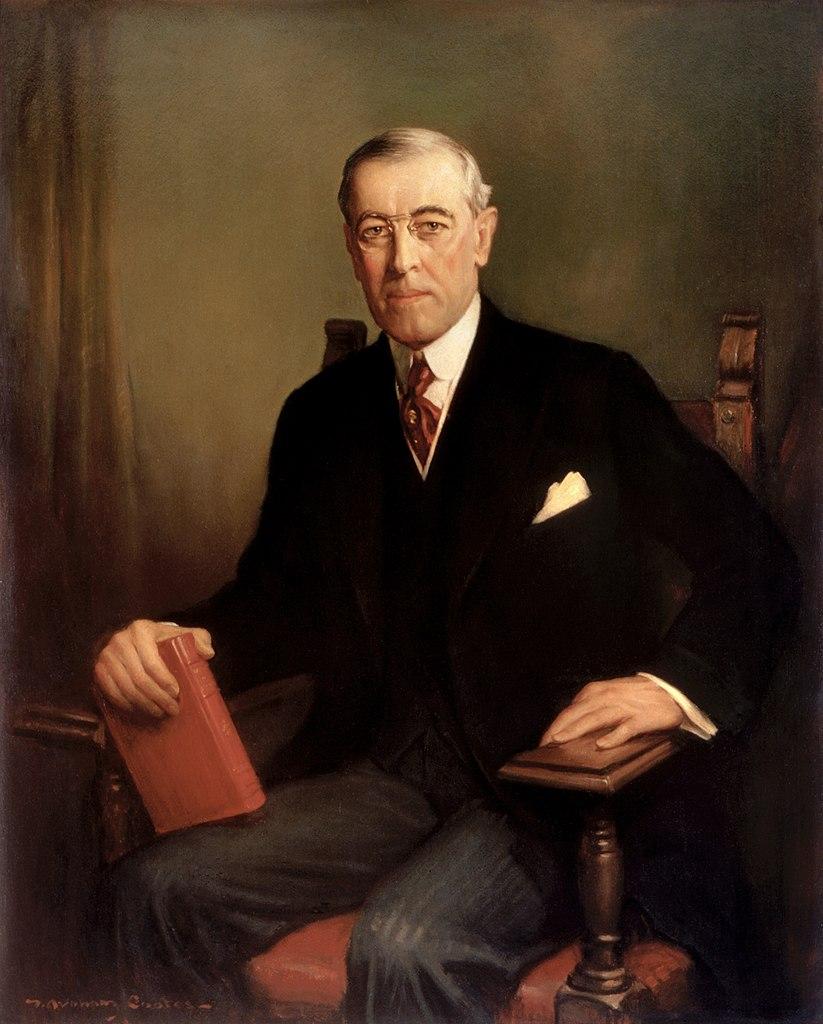 Portret prezydenta Woodrow Wilsona autorstwa Franka Grahama Cootesa (domena publiczna).