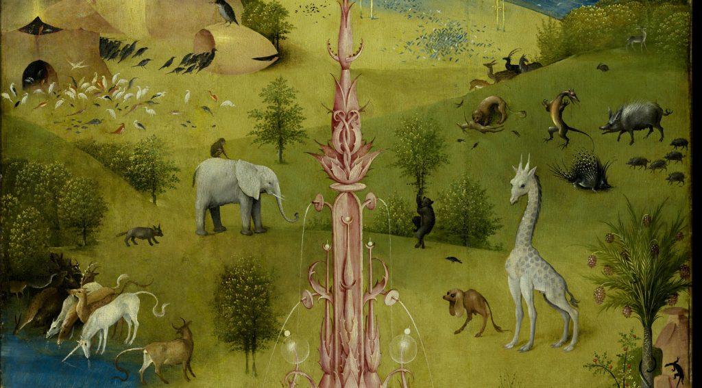 Poza fantastycznymi bestiami Bosch na swoim trptyku umieścił też np. słonia czy żyrafę (domena publiczna),