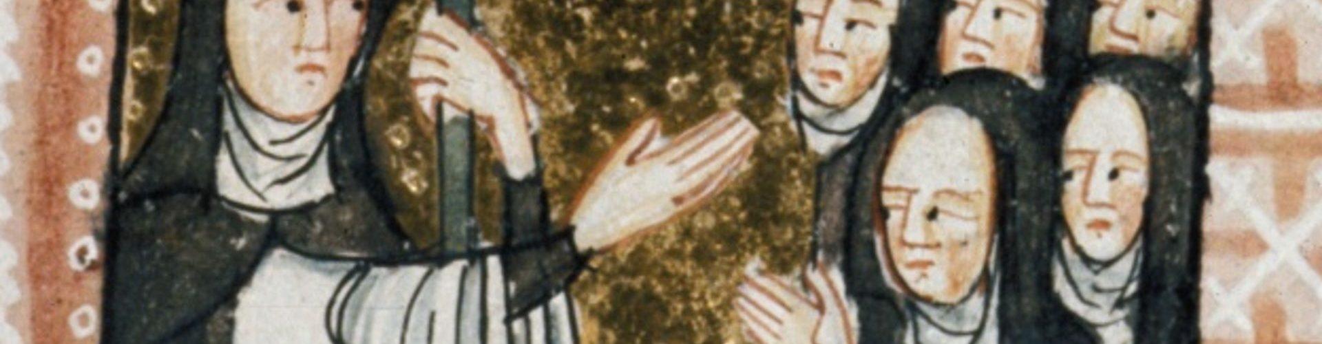Przełożona wspólnoty i jej członkinie na późnośredniowiecznej miniaturze