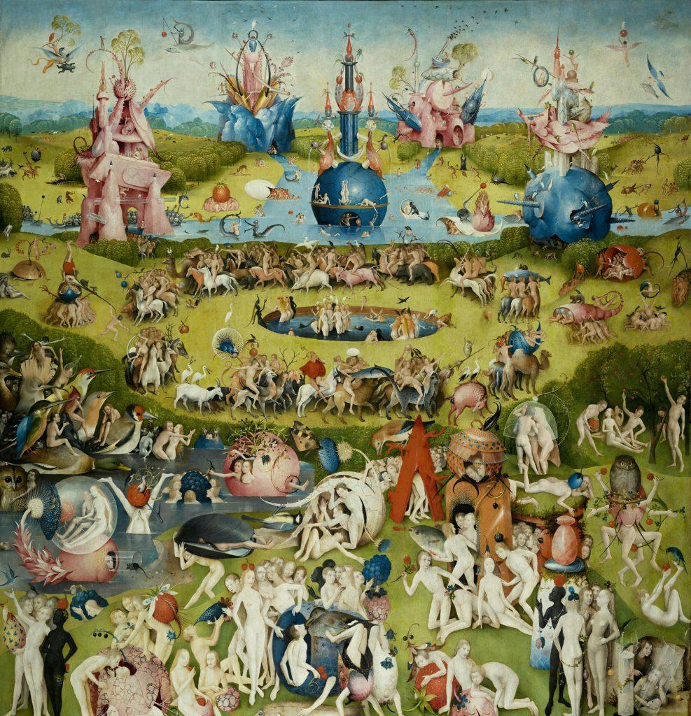 Raj rozkoszy - centralna część tryptyku Boscha.
