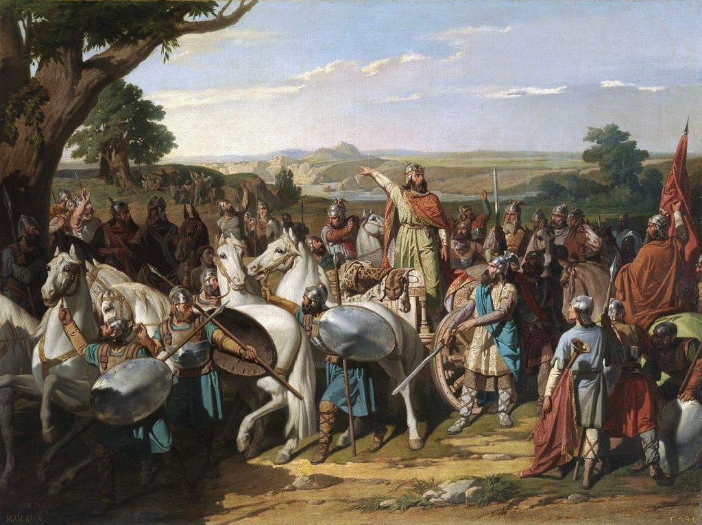 Rodaryk przemawiający do swoich żołnierzy przed bitwą nad Guadalete. Tak wyobrażał to sobie Bernardo Blanco y Pérez (domena publiczna).