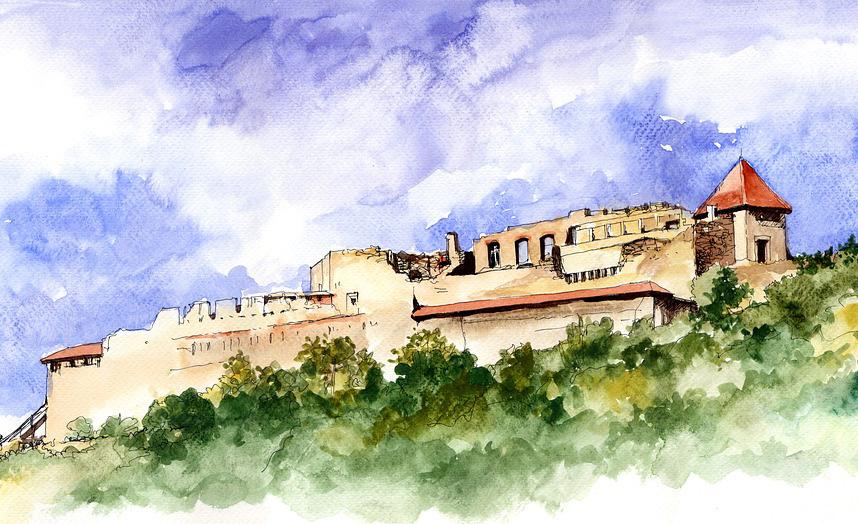 Ruiny zamku w Wyszehradzie. Grafika współczesna.