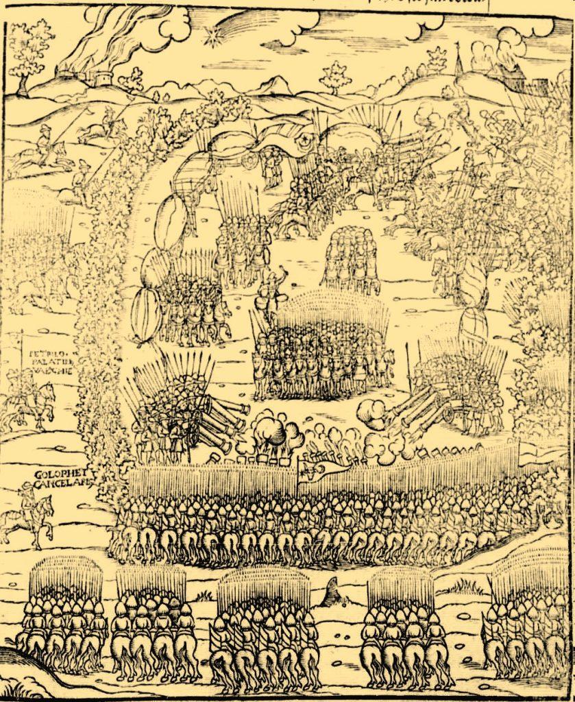 Rycina z kroniki Marcina Bielskiego przedstawiająca polskie wojsko w bitwie pod Obertynem (domena publiczna).