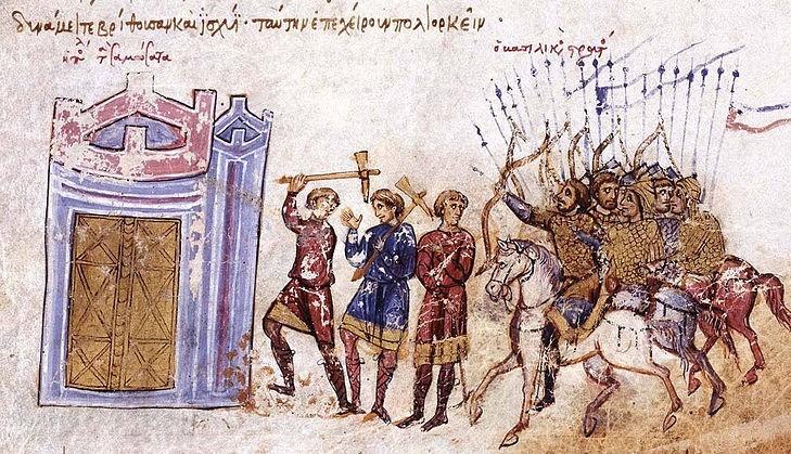 Bizantyjska armia na średniowiecznej miniaturze (domena publiczna)