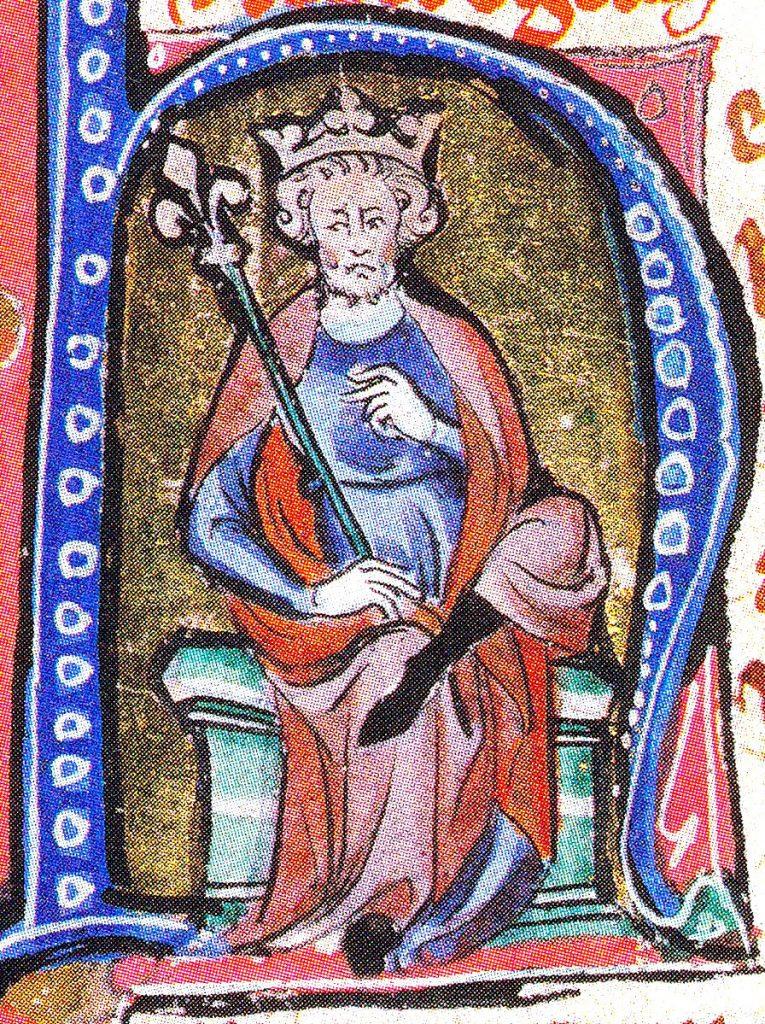 Świętosława na pewno była matką Kanuta Wielkiego. Tutaj władca na XIV-wiecznej miniaturze (domena publiczna).