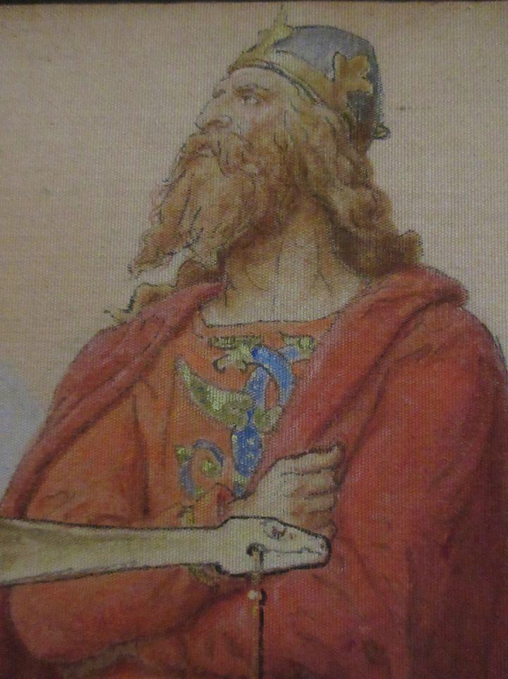Tak Swena Widłobrodego wyobrażał sobie w XIX wieku Lorenz Frølich (domena publiczna).