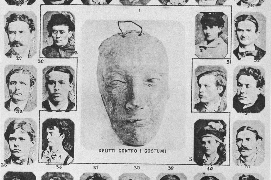Tak zwane typy lombrozowskie. Według wpływowego włoskiego kryminologa (zm. w 1909 roku) rysom twarzy ściśle odpowiadały konkretne zwyrodnienia, choroby umysłowe.