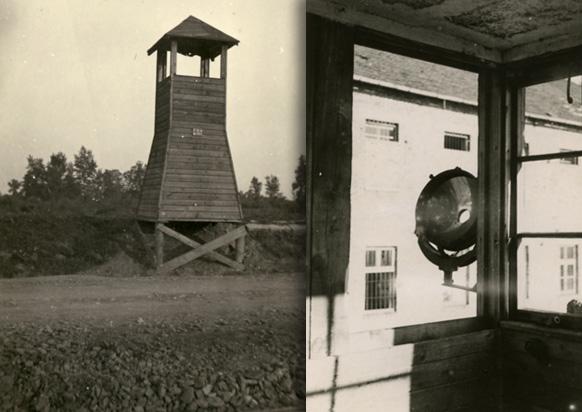 Wieża wartownicza Birkenau i wnętrze wieży wartowniczej obozu macierzystego