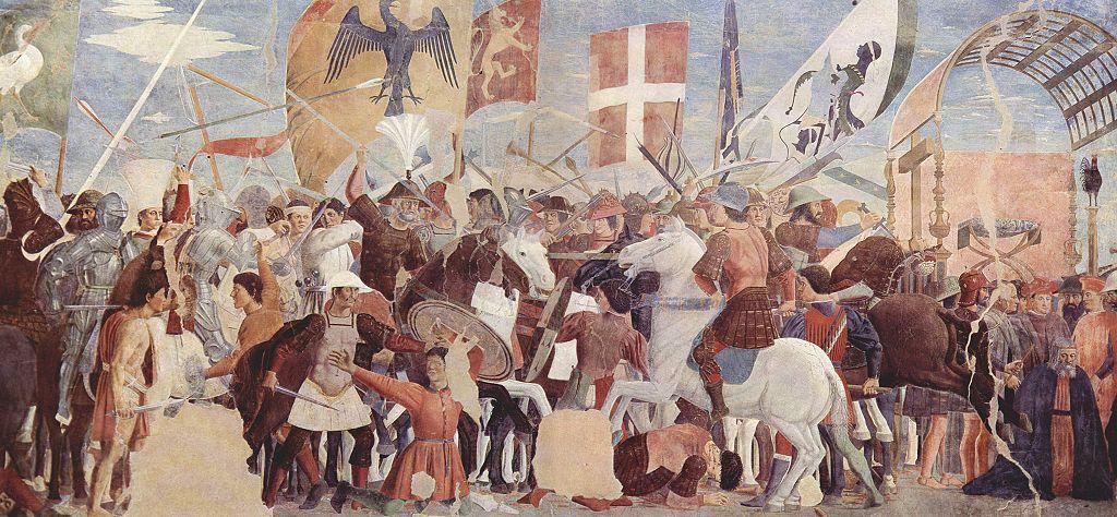 Wojska cesarza Herakliusza gromiące Persów na XV-wiecznym fresku Piero della Francesco (domena publiczna).