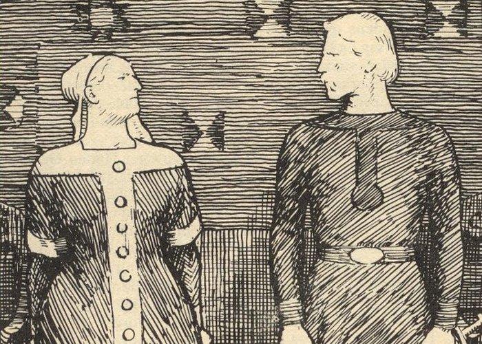 XIX-wieczna ilustracja przedstawiająca Sygrydę Storrådę  odmawiającą Olafowi Tryggvasonowi (Erik Werenskiold/domena publiczna).