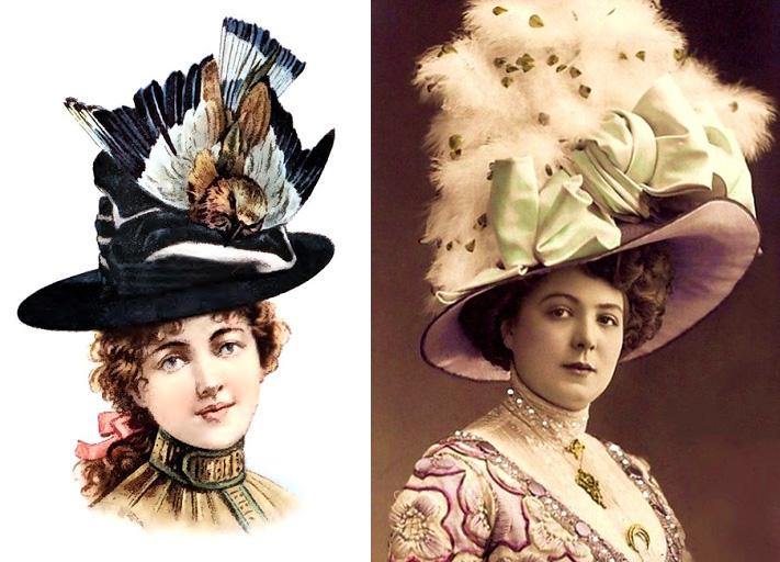 XIX-wieczne kapelusze z piórami