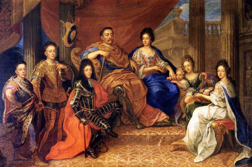 Aby załagodzić spór między Sieniawskim i jego żoną musiała interweniować para królewska (domena publiczna).