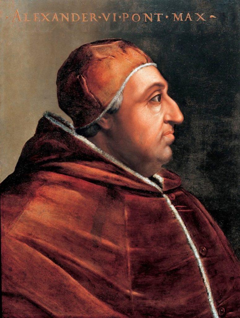 Papież Aleksander VI na portrecie wykonanym już po jego śmierci (Cristofano dell'Altissimo/domena publiczna).