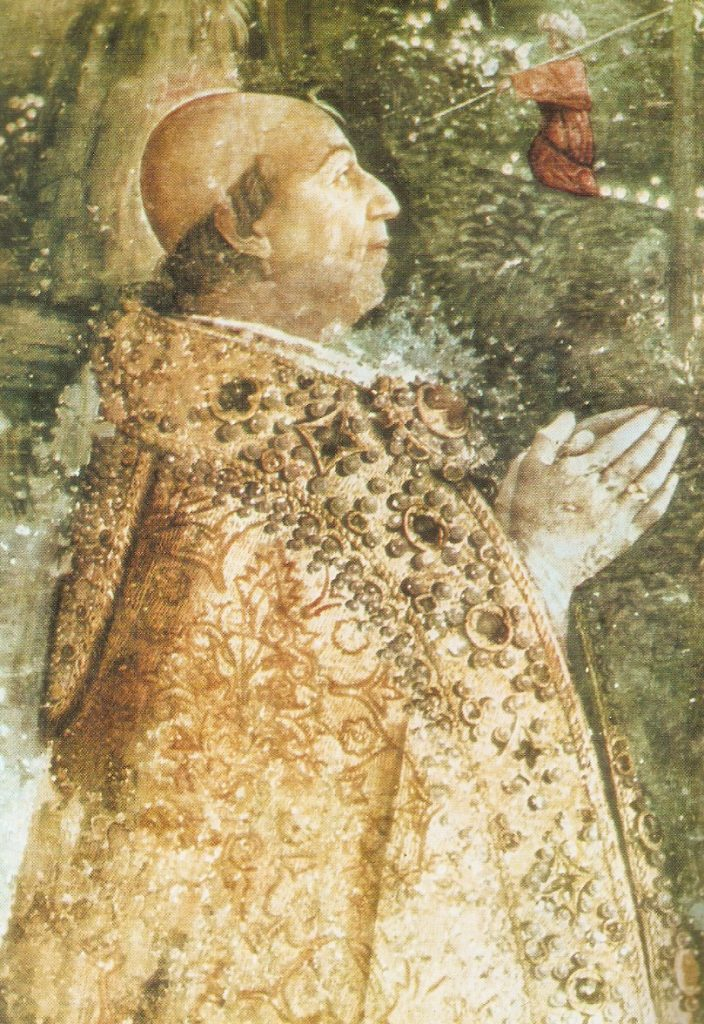 Aleksander VI (tutaj na fresku Pinturicchiego) początkową planował otrucie zięcia (domena publiczna).