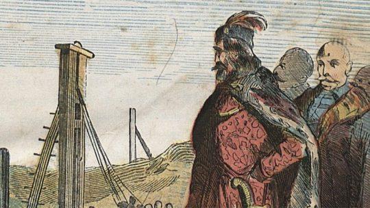 Bolesław Chrobry rozkazuje wbijać słupy graniczne. Ilustracja z XIX wieku.