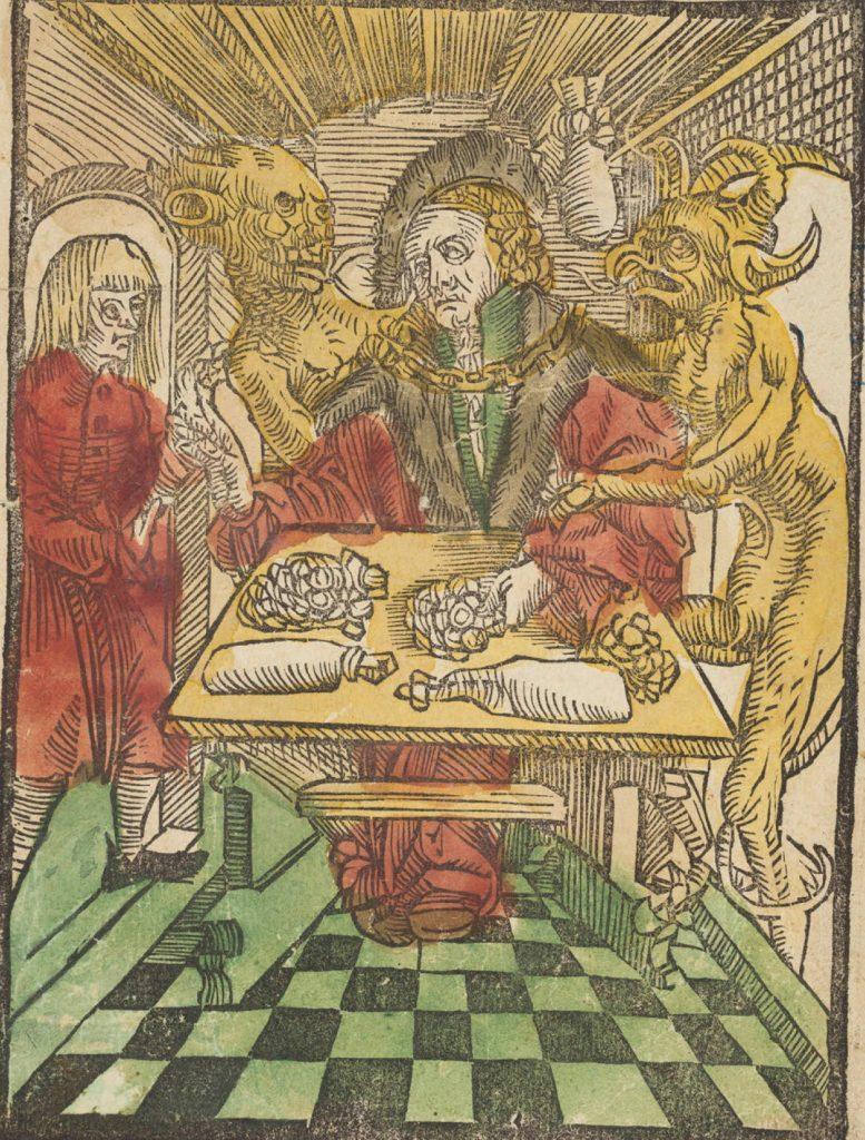 Drzeworyt przedstawiający lichwiarza z manuskryptu Stanisława Zaborowskiego Contra malos divites et usurarios (domena publiczna).