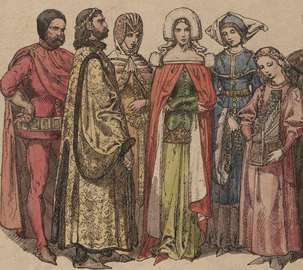 Jan Tęczyński cały dwór obsadził swoimi krewnymi oraz protegowanymi. Na ilustracji dworzanie z czasów Jadwigi według Jana Matejki (domena publiczna).