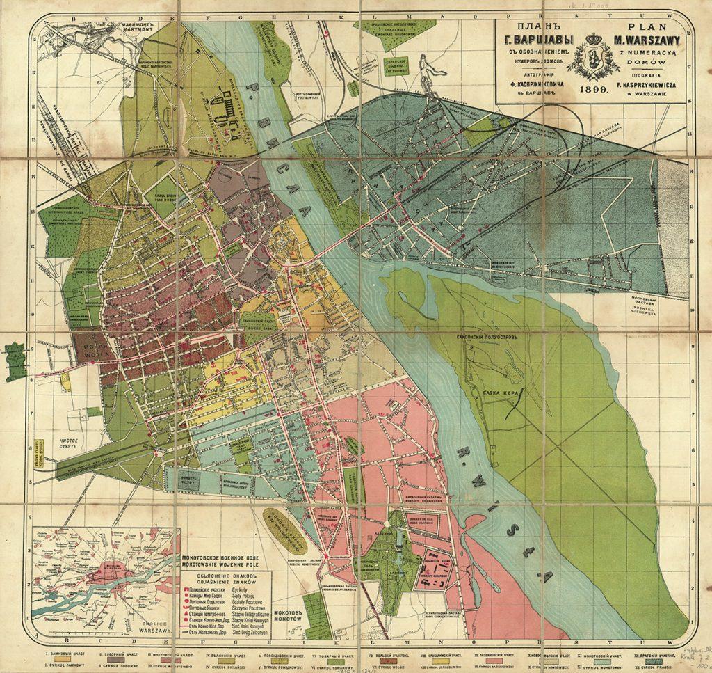 Dwujęzyczny plan Warszawy z 1899 roku.