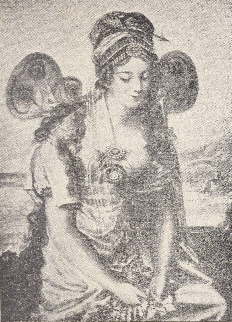 Elizie wytykano, że nie z suwerennej dynastii. Na ilustracji portret księżniczki przedstawionej jako peri, czyli postać z perskiej mitologii (domena publiczna).