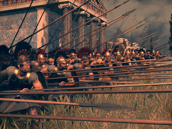 Falanga Seleukidów. Grafika z gry Total War. Rome II